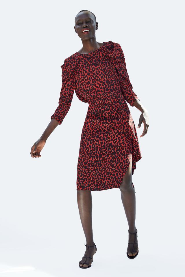 Zara Asymmetric Animal Print Skirt