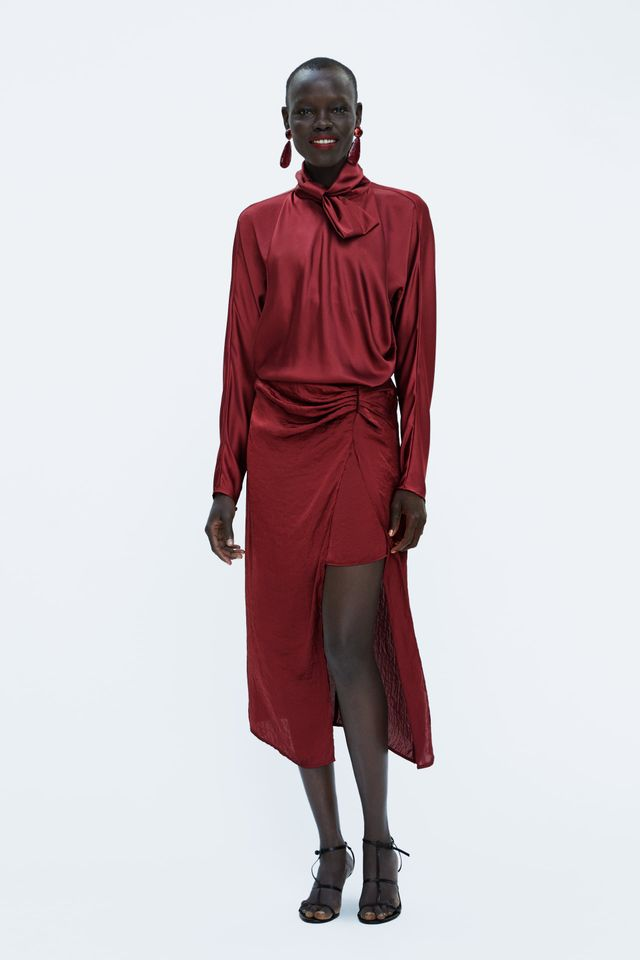 Zara Satin Silk Skirt with Slit