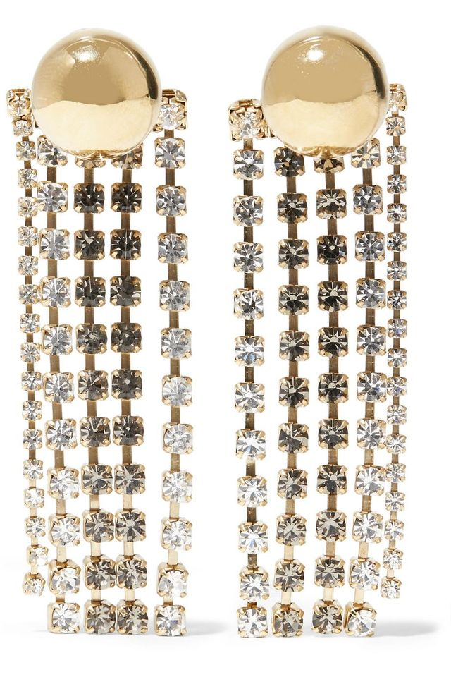 Beaufille Cobalt Fringed Gold-Plated Crystal Earrings