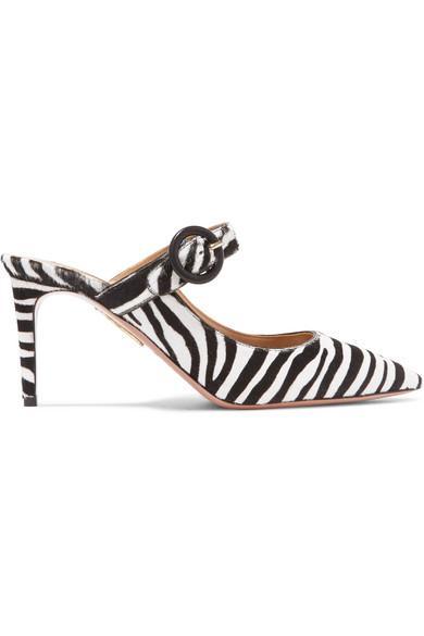 Aquazzura Blossom Zebra-Print Calf Hair Mules