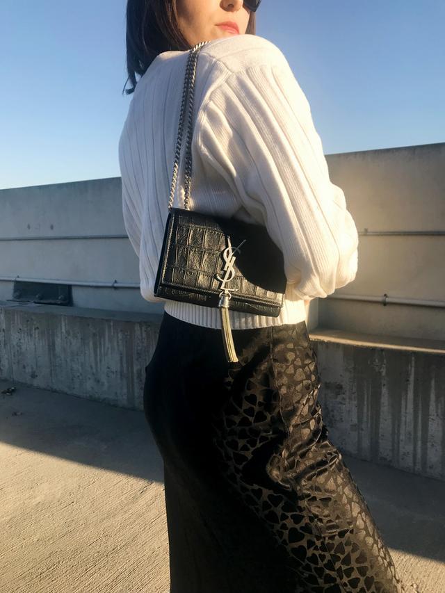 how to wear Realisation's new black slip skirt