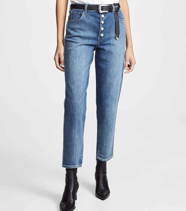 J Brand Heather Button-Fly Jeans