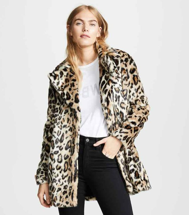 Notched Collar Fur Coat