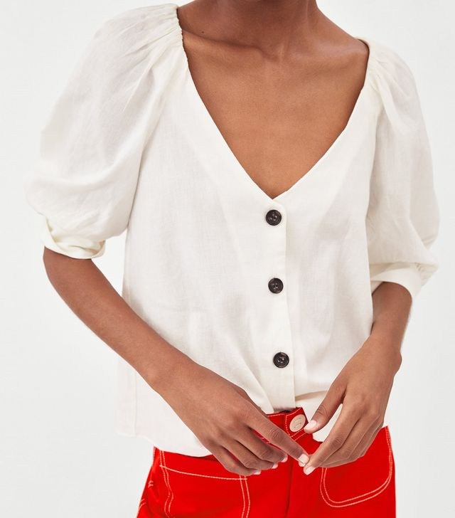 Zara Linen Top with Buttons