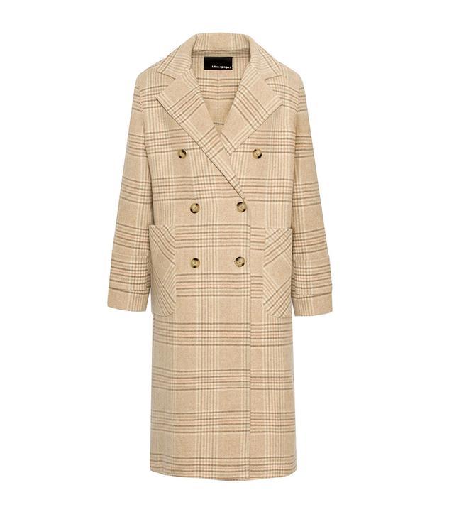 Pixie Market Tan Check Wool Coat