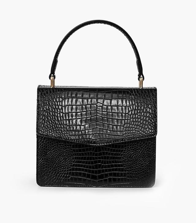 Pixie Market Black Croc Cross Body Bag