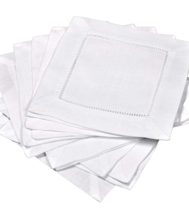 Bumblebee Linens White Linen Hemstitched Cocktail Napkins