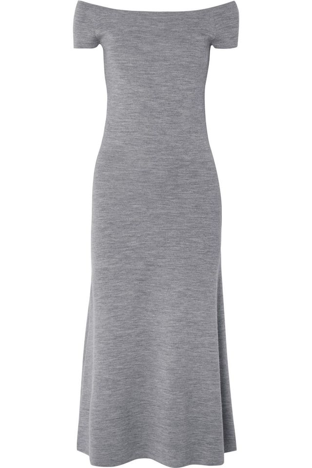 Gabriela Hearst Larrington Off-the-shoulder Mélange Wool-blend Midi Dress
