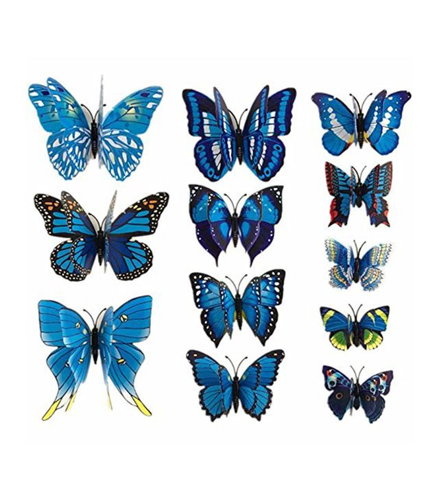 HL Wall Stickers 3D Butterfly Blue, 12 Pieces