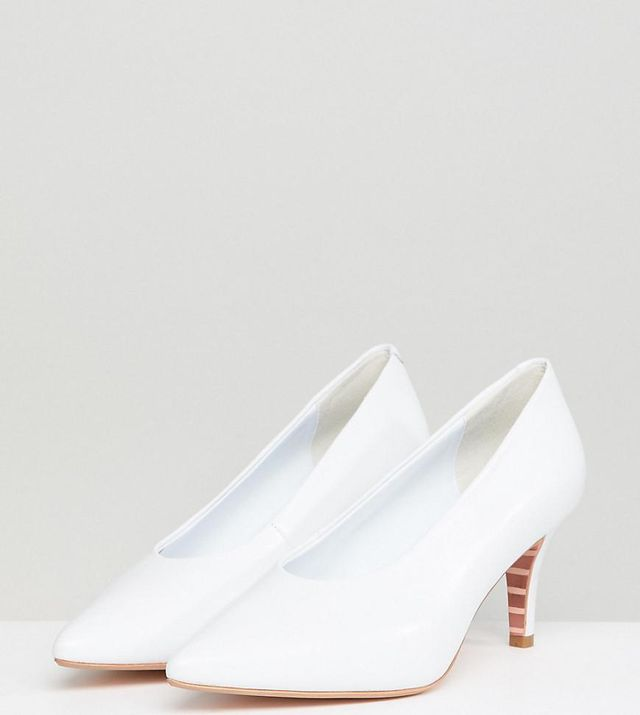 Dune White Leather Vampy Kitten Heeled Shoes