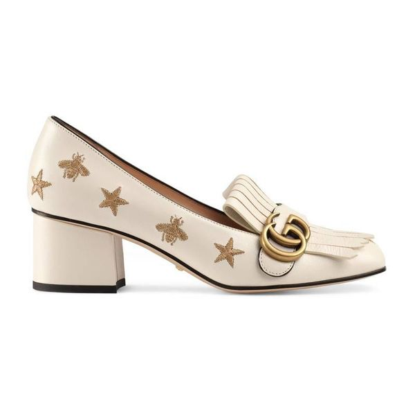 Gucci Embroidered Leather Mid-Heel Pumps