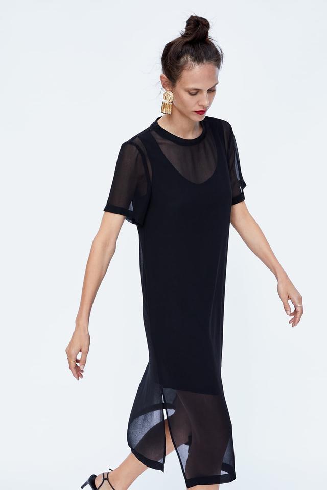 Zara Dress With Ribbed Trim