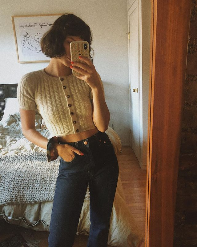 Cropped cardigan outfits
