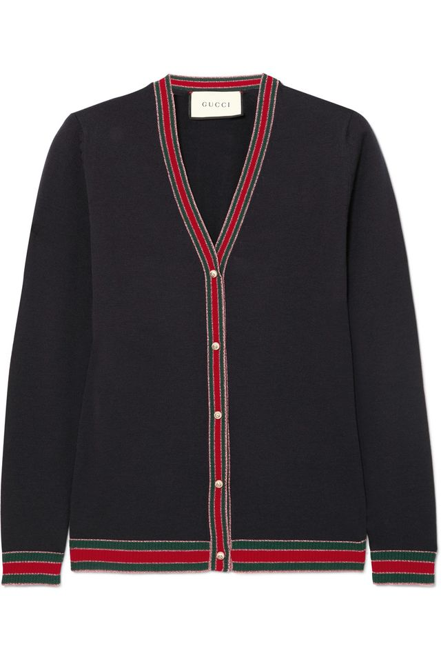 Gucci Striped Wool Blend-Trimmed Wool Cardigan