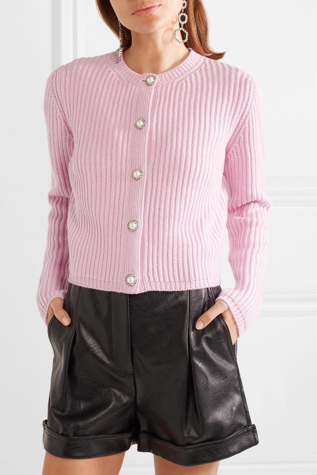 Miu Miu Embellished Ribbed Cashmere Cardigan