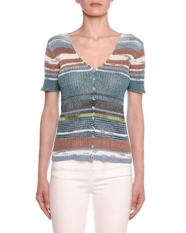 Missoni Striped Knit Short-Sleeve Cardigan