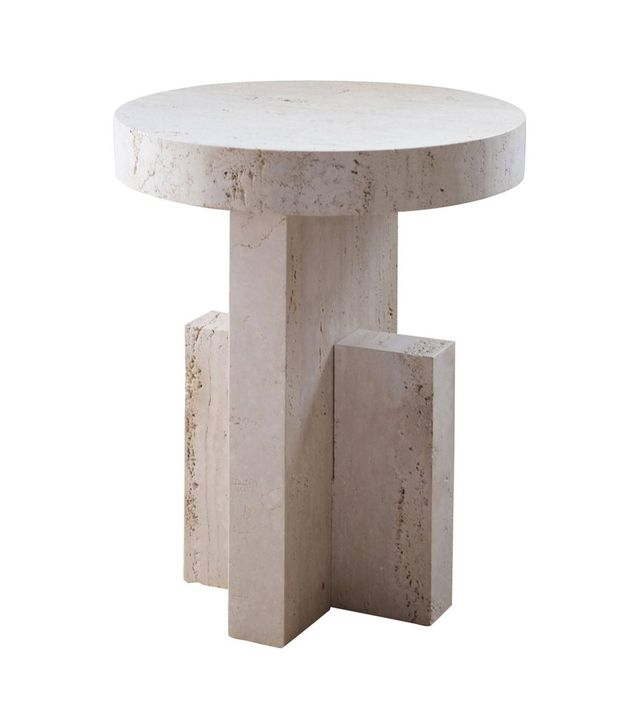 Fort Standard Contemporary Planar Side Table in Travertine Stone