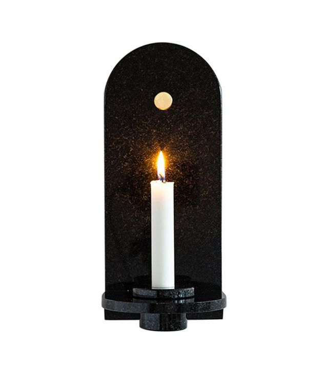 Fort Standard Black Granite Stone Candle Sconce