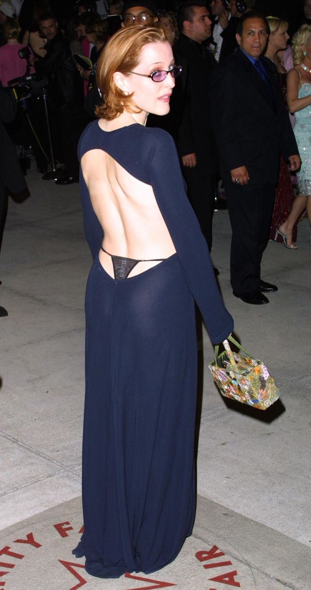 Gillian Anderson exposed thong dress