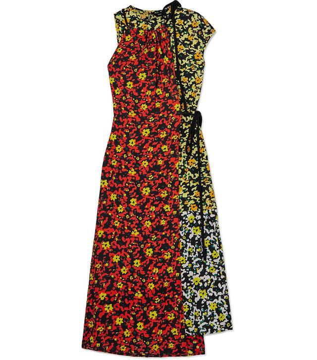 Proenza Schouler Asmmetric Floral-Print Georgette Dress