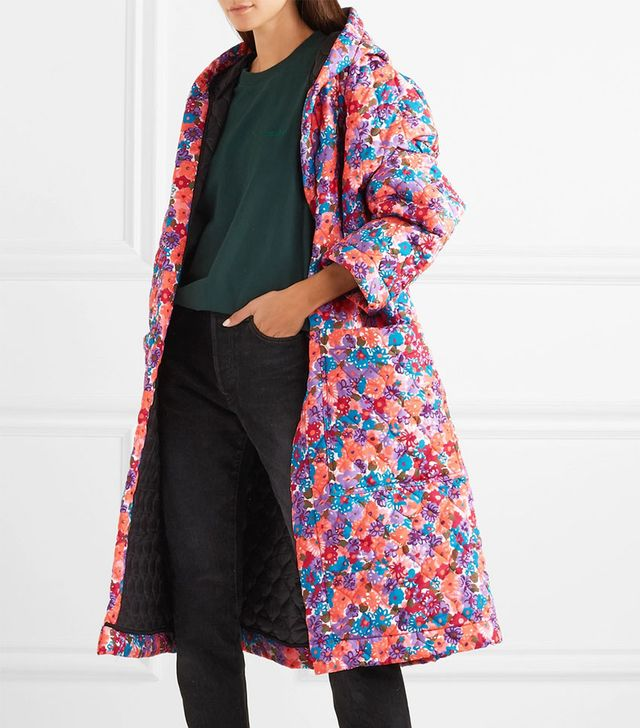 Vetements Oversized Quilted Floral-Print Shell Coat
