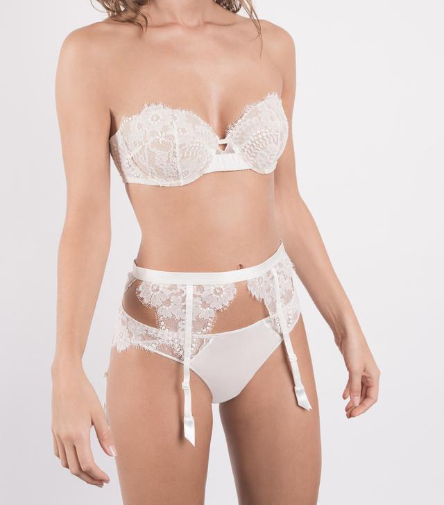 Maisonlejaby White Silk Lace Garter Belt