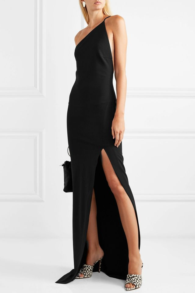 Solace London The Petch One-Shoulder Stretch-Crepe Gown