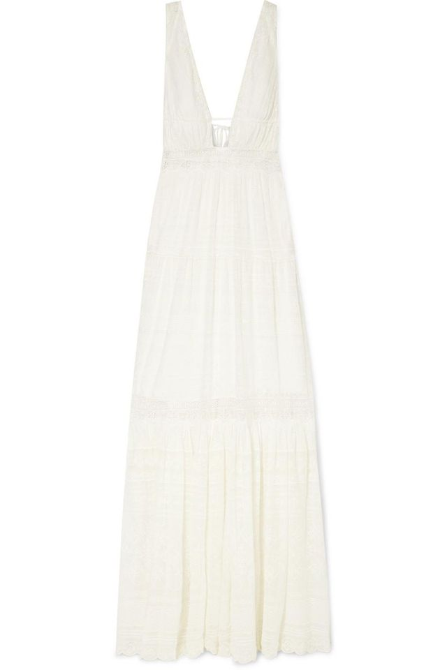 Jonathan Simkhai Lace-Paneled Embroidered Silk-Georgette Maxi Dress