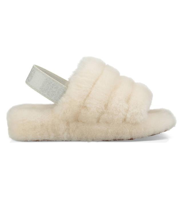 Ugg Fluff Yeah Genuine Shearling Slide Slippers in Cream