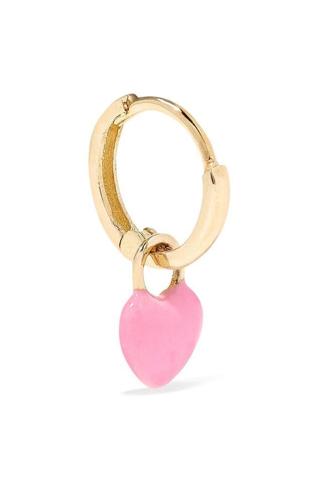 Alison Lou Tiny Heart Huggy 14-Karat Gold Enamel Hoop Earring