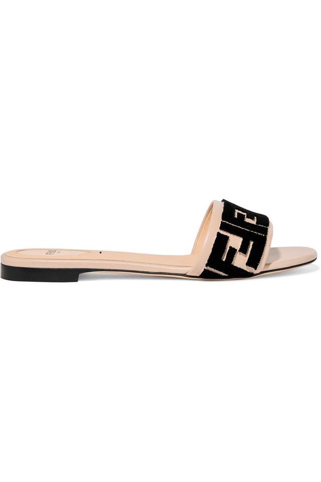 Fendi Logo-Flocked Leather Slides