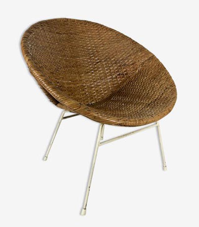 Selency Rattan Lounge Chair 1960s