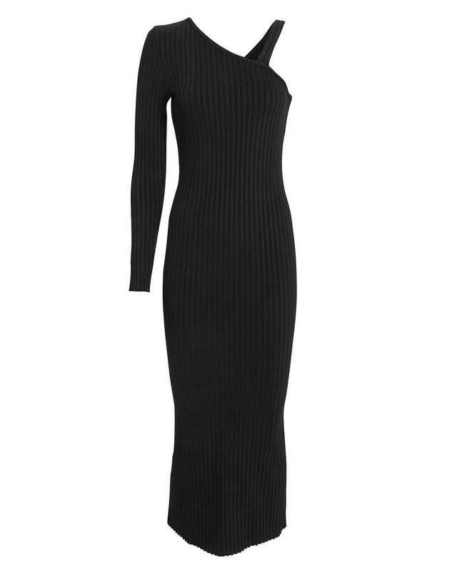 The Range The Range Ribbed Slanted Midi Dress