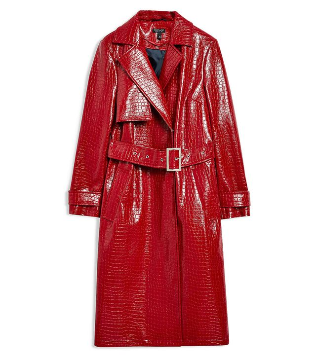 Topshop Croc-Embossed Trench Coat