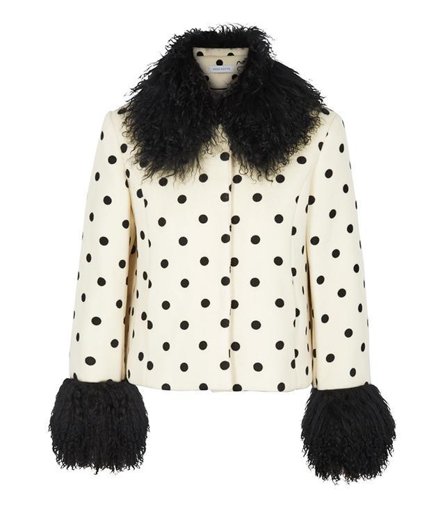 polka dot fur-trimmed jacket