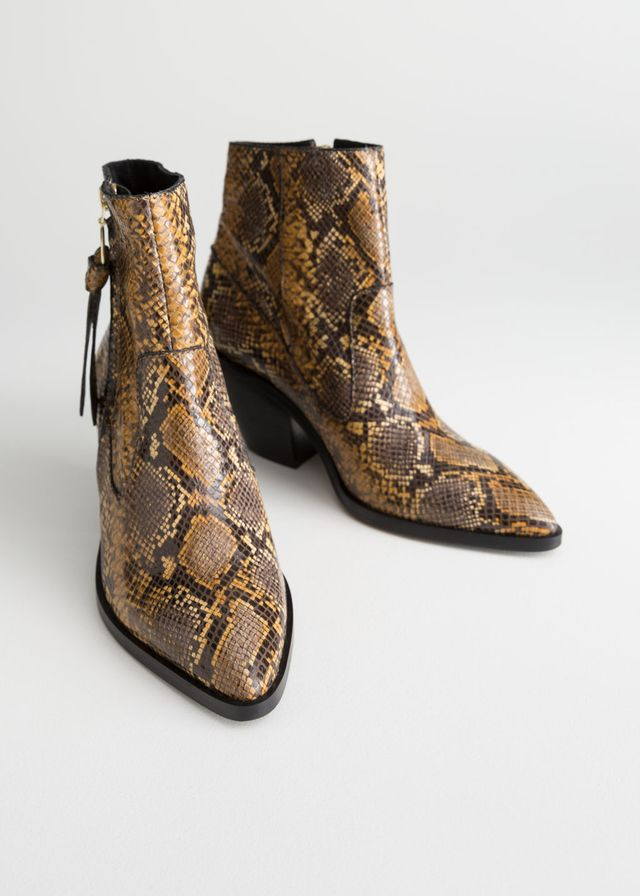 & Other Stories Leather Cowboy Ankle Boots