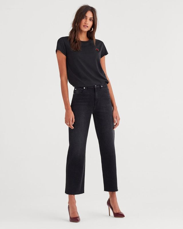 7 for All Mankind Cropped Alexa with Cut Off Hem in Weathered Black