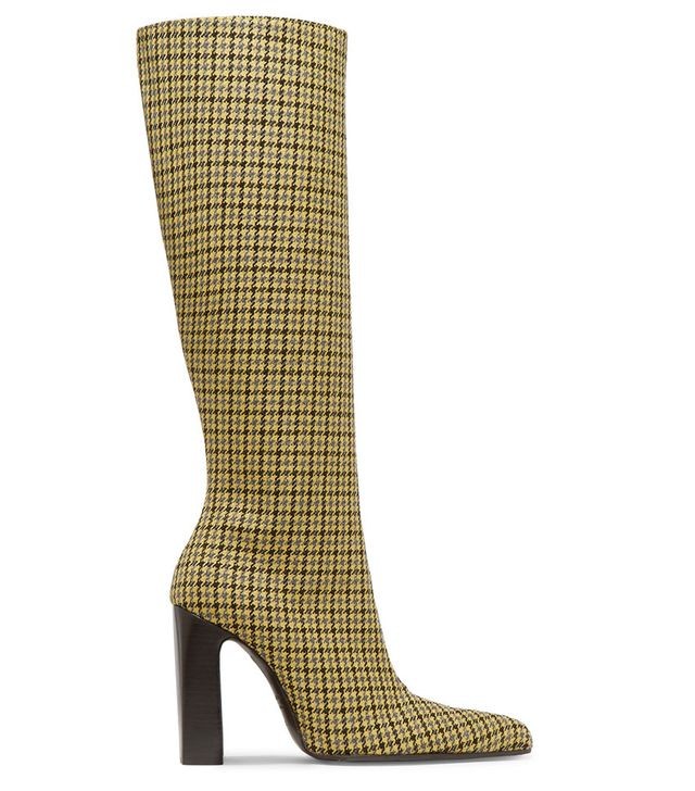 Balenciaga Houndstooth Wool-Tweed Knee Boots