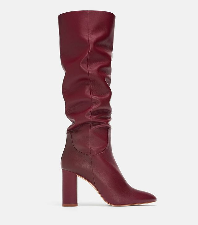 Zara High-Heeled Leather Boots