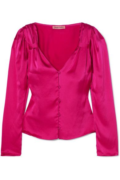 Maggie Marilyn Elle Woods Gathered Silk-Satin Blouse