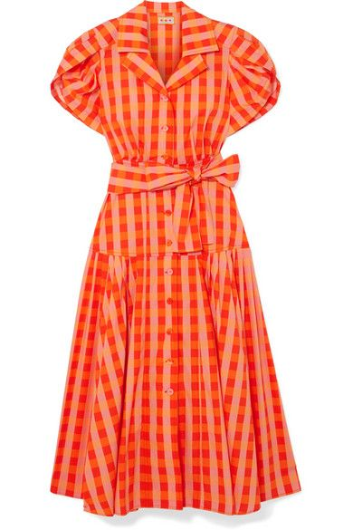 LHD Chateau Gingham Stretch-Cotton Broadcloth Midi Dress