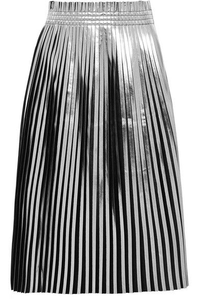 MM6 Maison Margiela Pleated Metallic Faux Leather Midi Skirt