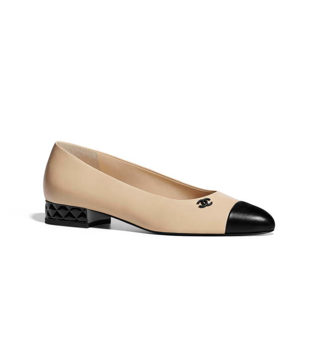 Chanel Lambskin Beige & Black Ballerina Flats