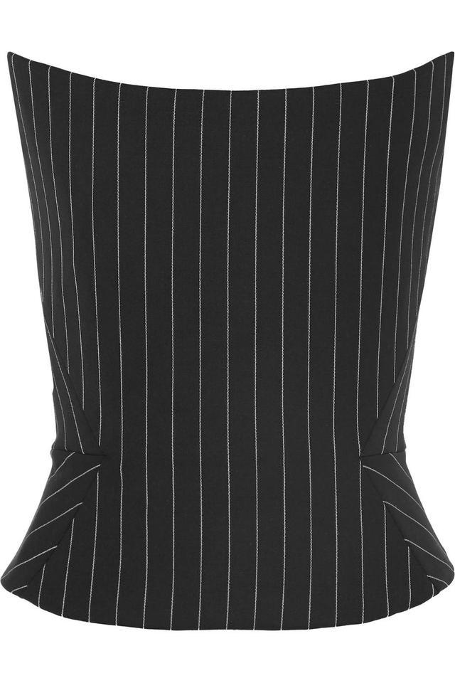 Gareth Pugh Pinstriped Wool-Blend Bustier Top