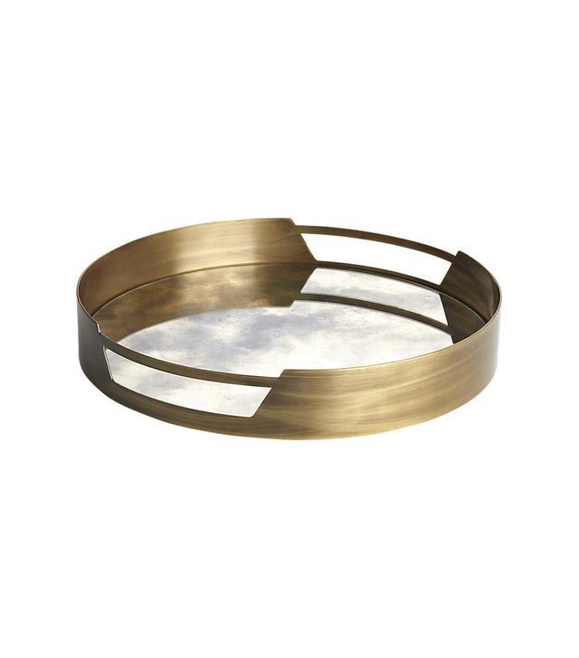 CB2 Marcella Brass Antique Mirror Tray