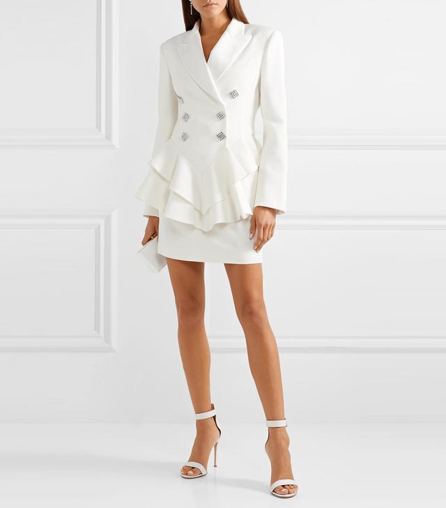Alessandra Rich Crystal-Embellished Satin-Trimmed Wool-Crepe Peplum Blazer