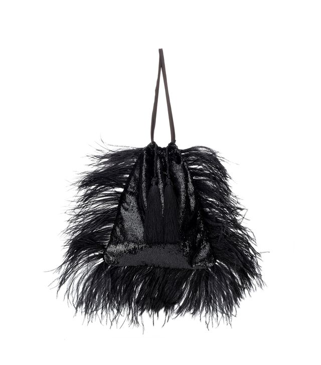 Attico Velvet Pouch With Feathers