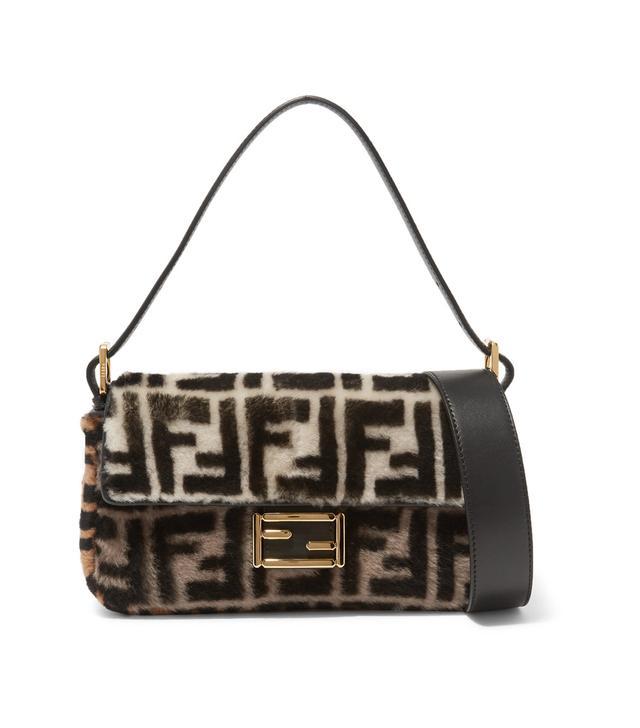 Fendi Baguette Printed Shearling Shoulder Bag