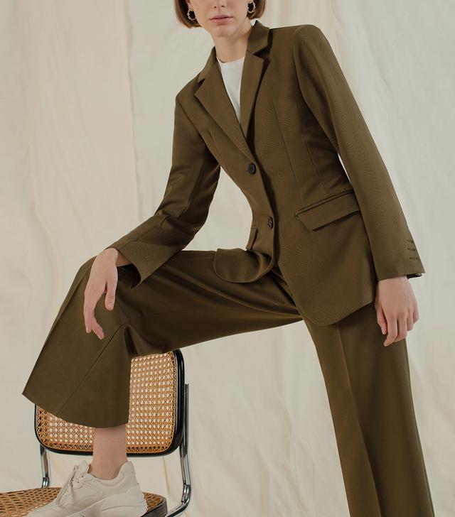 Pixie Market Olive Brown Suit Blazer