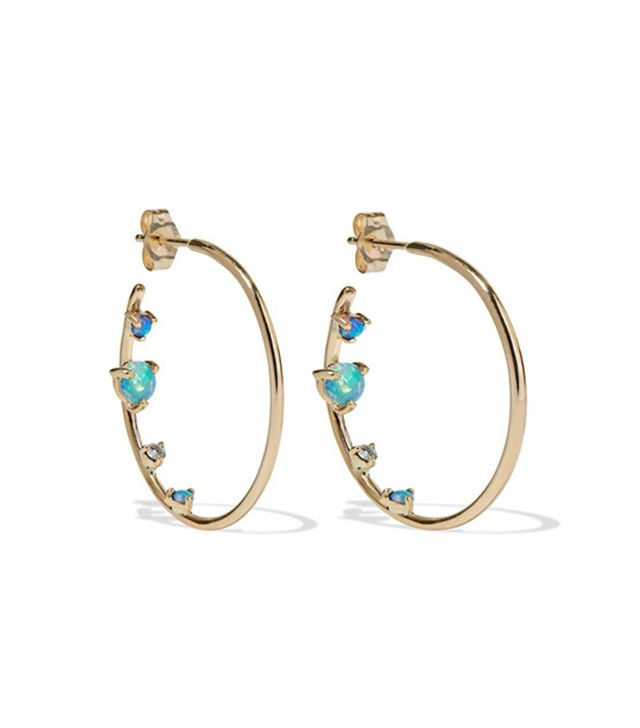 Wwake 14-Karat Gold, Opal, and Diamond Hoop Earrings